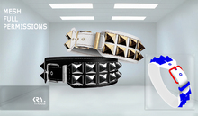[KRY.moda] ..:FULLPERM:.. 05 Double Studs Mesh Biker Bracelet Collar
