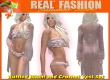 """REAL FASHION"" Ruffled bikini and vest set PINK - Mesh"