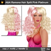 A&A Ramona Hair Split Pastel Pink Platinum (Special Color). Long wavy curly flexi hairstyle for women. Promo Price!