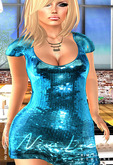 KIM- Sequin Mesh Love Dress-Cyan