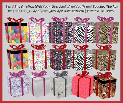 ♡ 20 Fun Scripted Animated Gift Boxes ~ Top pops off and the items you packed are delivered to your friends inventory :)