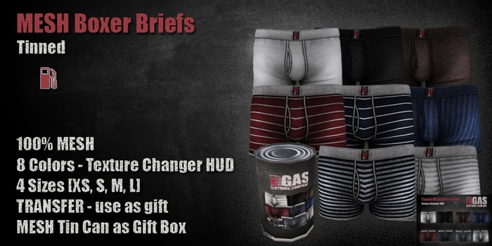 GAS [Tinned MESH Boxer Briefs - 8 colors with HUD]