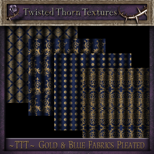~TTT~ Nighty's Gold & Blue Pleated Fabric Textures