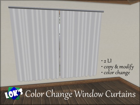 Updated! Lok's Window Curtains - Color Change, 2 LI