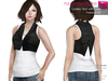 FULL PERM CLASSIC RIGGED MESH Women's Female White Racer Back Tank Top with Black Closed Front Sleeveless Short Vest