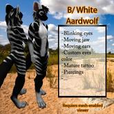 Furry Aardwolf - Black White