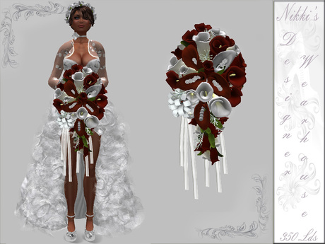 Second Life Marketplace Dark Red N White Calla Lily Bridal Bouquet