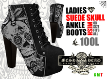 Mesh Head - Suede Skull Ankle Boots