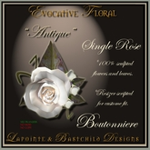 L&B - Buttonhole - Rose - Antique (Boutonniere)
