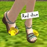 Red Shoe-Wedge Summerflower