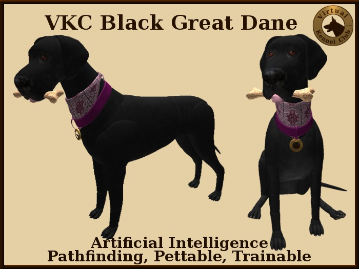 VKC® Black Great Dane - Artificially Intelligent (AI) Trainable Dog- No Food Required -Virtual Kennel Club- Pathfinding