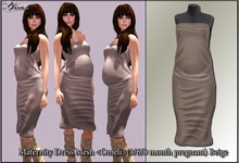 Maternity Dress Mesh <Omeli>(3/6/9 month pregnant) Beige