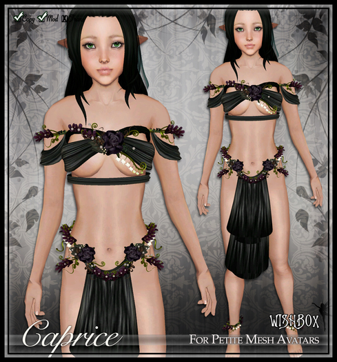 [Wishbox] Caprice (Petites) - Black/Purple. Fairy Rose Flower Silks for Petites