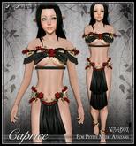 [Wishbox] Caprice (Petites) - Black/Red. Fairy Rose Flower Silks for Petites