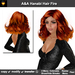 A&A Hanabi Hair Fire. Wavy over-the-shoulder womens hair w/2 sets of menu show/hide/color streaks