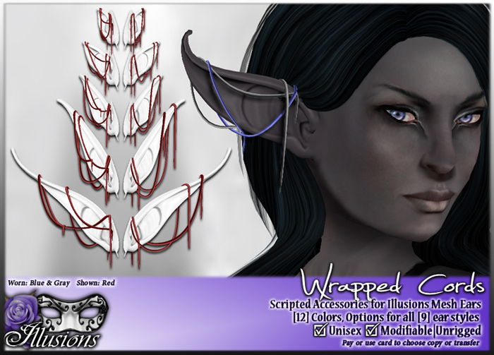 *~*Illusions*~* Wrapped Cords for Illusions Elf Ears (Complete Set)