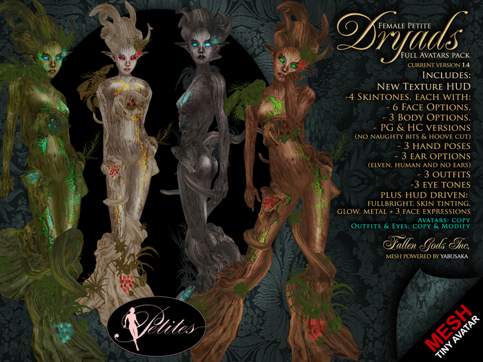PETITES Female Dryads, tiny mesh avatars + Fallen Gods Inc.