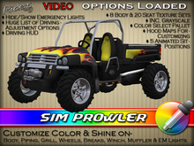 """Riders Sim Prowler - Heavy-Duty XUV (Xtreme Utility Vehicles)  - w/ Texture & Color Change - Pre-Textured """"Flames"""""""
