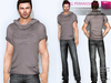 FULL PERM CLASSIC RIGGED MESH Men's Male Loose Short Sleeve Hooded T-Shirt Top - 5 TEXTURES