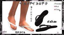 ::Foxy Fashions:: Sculpted White & Black Flip Flops