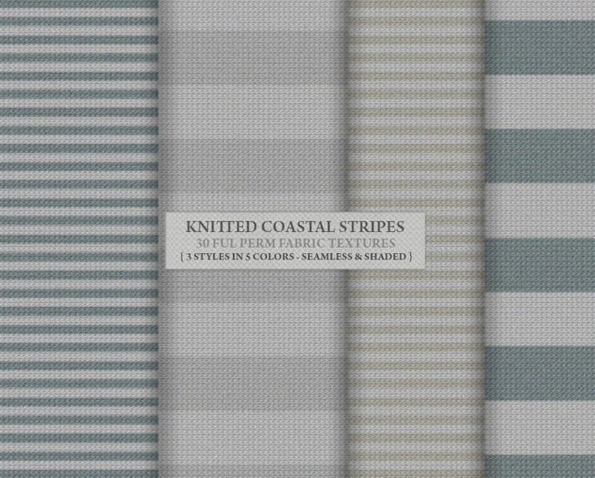 Knitted Coastal Stripes { 30 seamless & shaded fabrics in 3 styles & 5 gorgeous coastal colors }