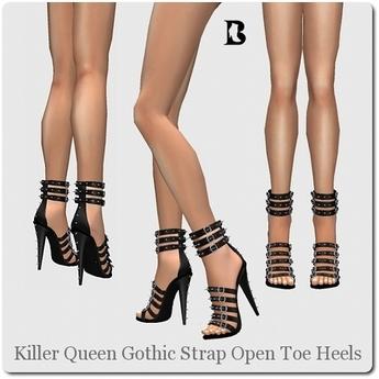 Killer Queen Gothic Strap Open Toe Heels