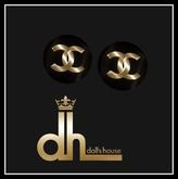 CHANNEL EARRINGS WITH GOLD DOLL'S HOUSE