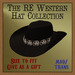 RE Western Cowboy Hat Black w/Silver Leather Star Conchos - Cowgirl/Sculpted/Old West/Texas