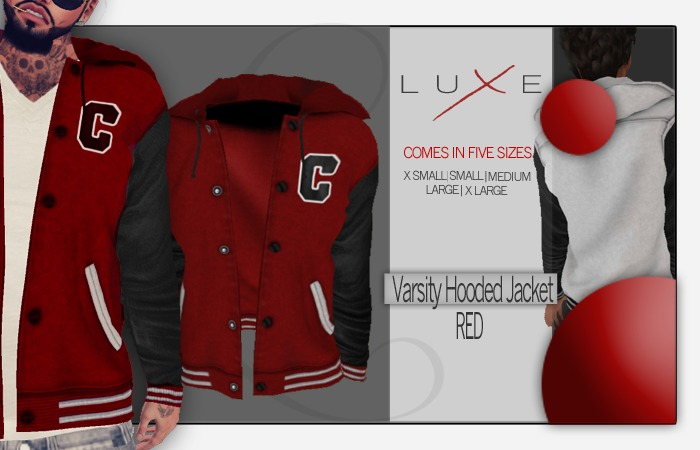 -LUXE- Varsity Hooded Jacket ; Red - S
