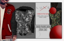 -LUXE- Varsity Hooded Jacket ; Urban Camo