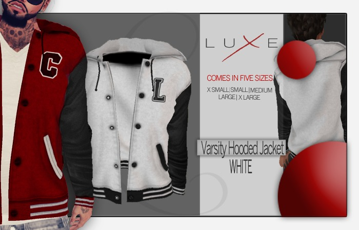 -LUXE- Varsity Hooded Jacket ; White