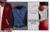 -LUXE- Varsity Hooded Jacket ; Baby Blue