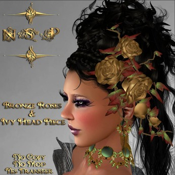 NSP Bronze Roses & Ivy Head Piece (boxed)