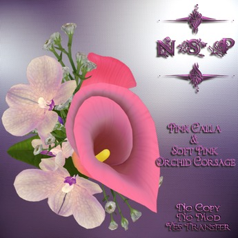 NSP Pink Calla Lily & Soft Pink Orchid Corsage (boxed)