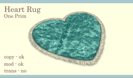 Free Gift! Heart Rug (Turquoise)