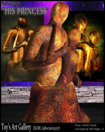 """Mesh Art : """" His Princess"""" - statue sculpture couple passion protector lovers mesh 3D art embrace"""