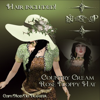 NSP Country Cream Rose Floppy Hat (Black) boxed
