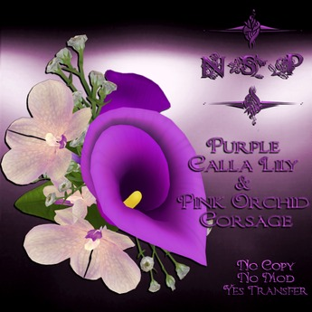 NSP Purple Calla Lily & Pink Orchid Corsage (boxed)