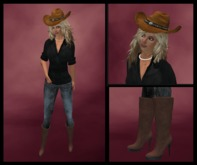 @ ! Bliss Cowboy Hat / Black Shirt / 2 Pair Jeans / Boots / Red Nail Polish / Pearls / Charlie 101 by Bliss Designs