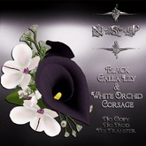 NSP Black Calla Lily & White Orchid Corsage (boxed)