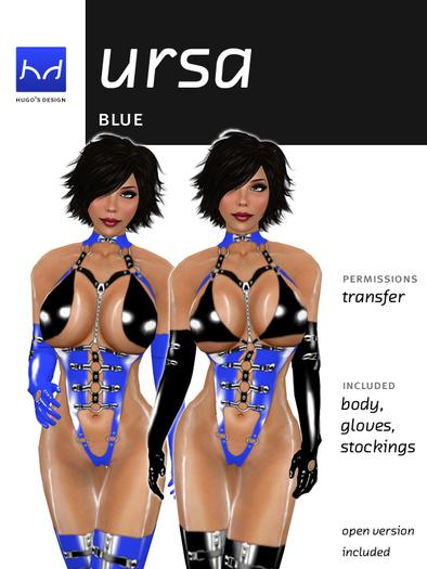 Ursa - Blue & Black Very High-Cut Latex Body - Hugo's Design