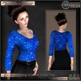 ~JJ~ Mesh Long Sleeve Crew Top (blue velvet)