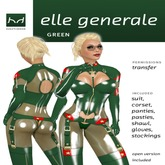 *Elle Generale - Green & Red Military Style Latex Uniform - Hugo's Design