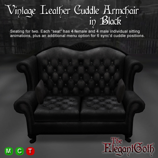 Second Life Marketplace - Vintage Leather Cuddle Armchair ...