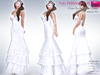 %50WINTERSALE PERM RIGGED MESH Women's Bridal Strapless Sweetheart Neck Mermaid 3 Tiered Skirt Dress Gown - 4 TEXTURES