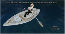 Weather beaten rowboat with sitting and swaying animation