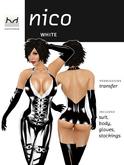 Nico - Black & White Latex Suit & Body Set with Colour Trim - Hugo's Design