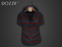 DOZZE - Striped Polo Shirt *MESH* (Blue/Red)