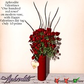 "Aphrodite Valentine ""One hundred roses"" on modern vase TRANSFER"