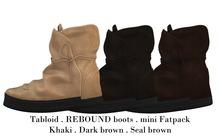 Tabloid . REBOUND boots . miniFATPACK . Khaki . Dark Brown . Seal brown